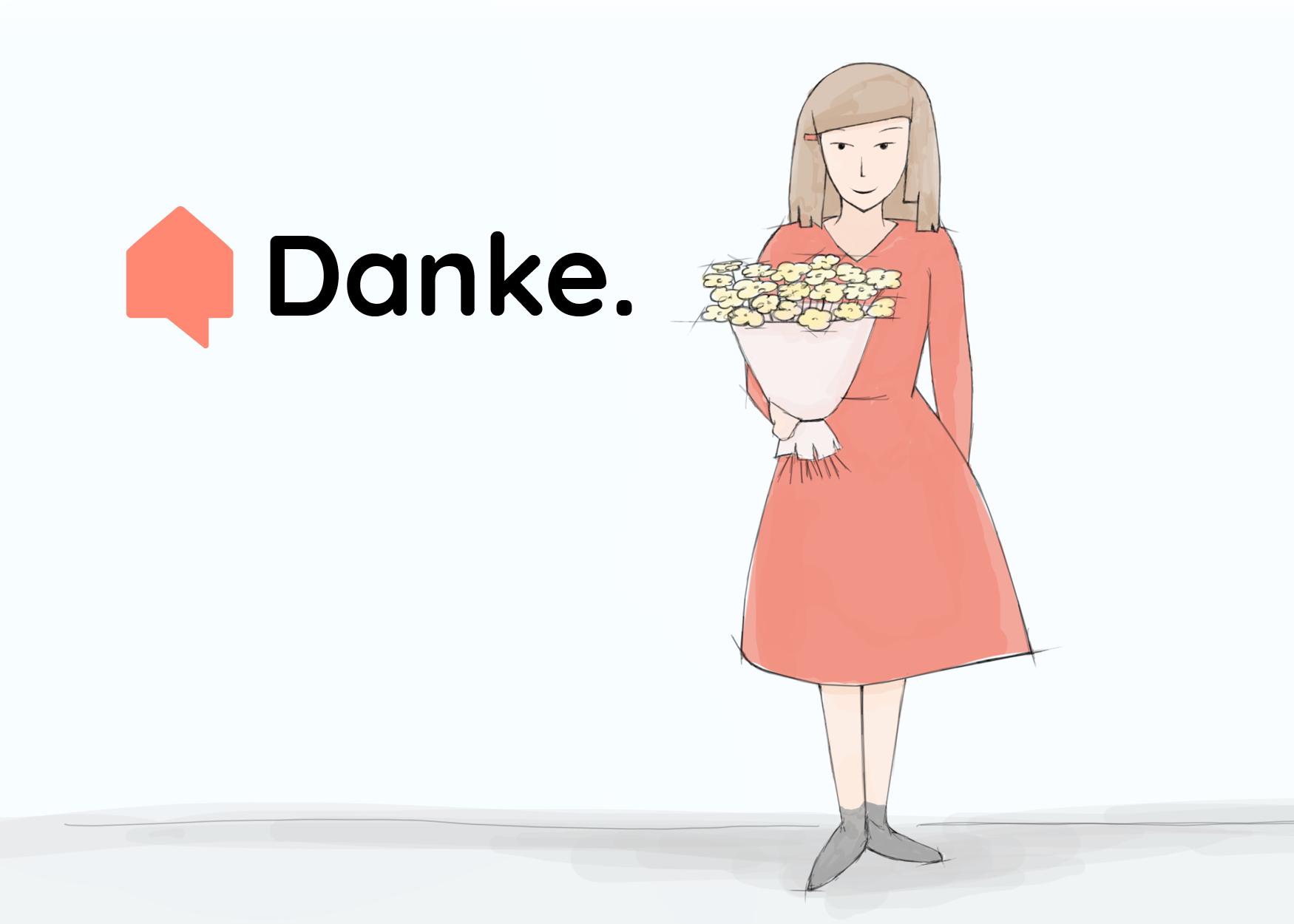 Skizze: Junge Frau haelt dir einen bunten Blumenstrauss entgegen