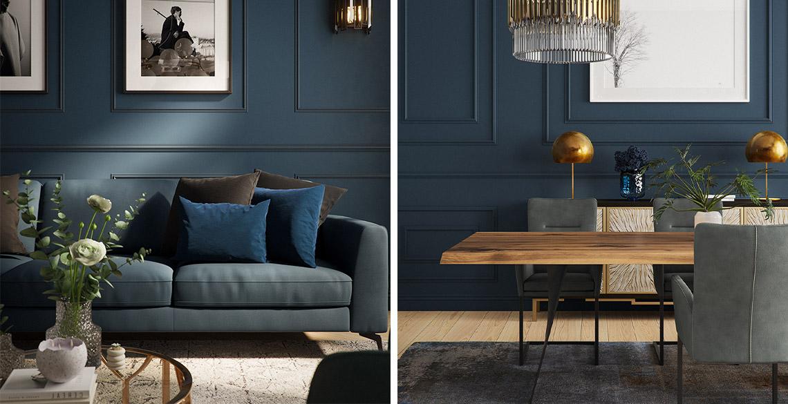 Dunkelblaues Sofa im Wohnzimmer und Esszimmer mit Holztisch und dunkelgrauen Stühlen