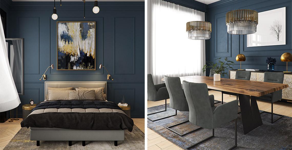 Schlafzimmer und Esszimmer mit dunkelblauen Farbtönen eingerichtet