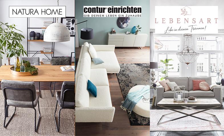 Verschnitt von drei Bildern: Esszimmer mit Massivhholztisch, cogancfarbenes Sofa und graue Couch
