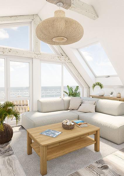 Weißes Ecksofa im Beachhouse-Wohnzimmer mit Couchtisch aus Massivholz mit Meerblick