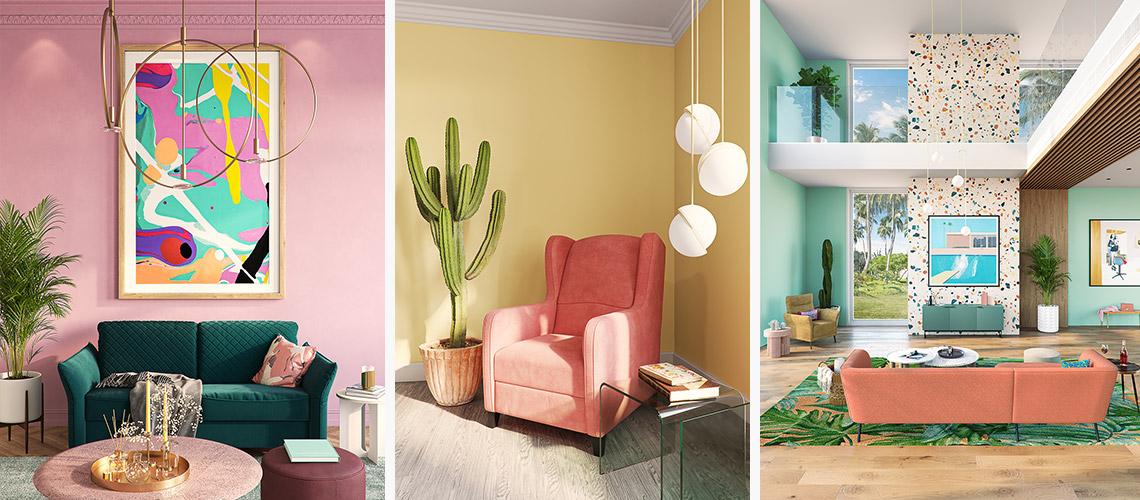 Drei verschiedene Bilder bunter Zimmer: Rosa Wand vor grünem Sofa, pfirsichfarbener Sessel vor gelber Wand und Dschungel-Wohnzimmer