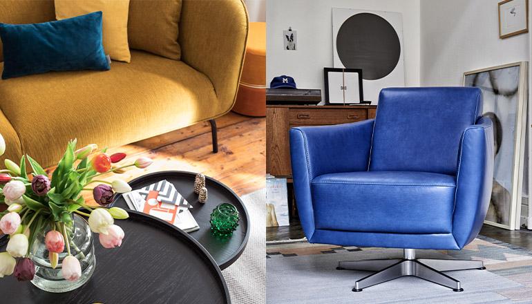 Ein blauer Ledersessel rechts und ein gelbes Sofa mit Beistelltischen links