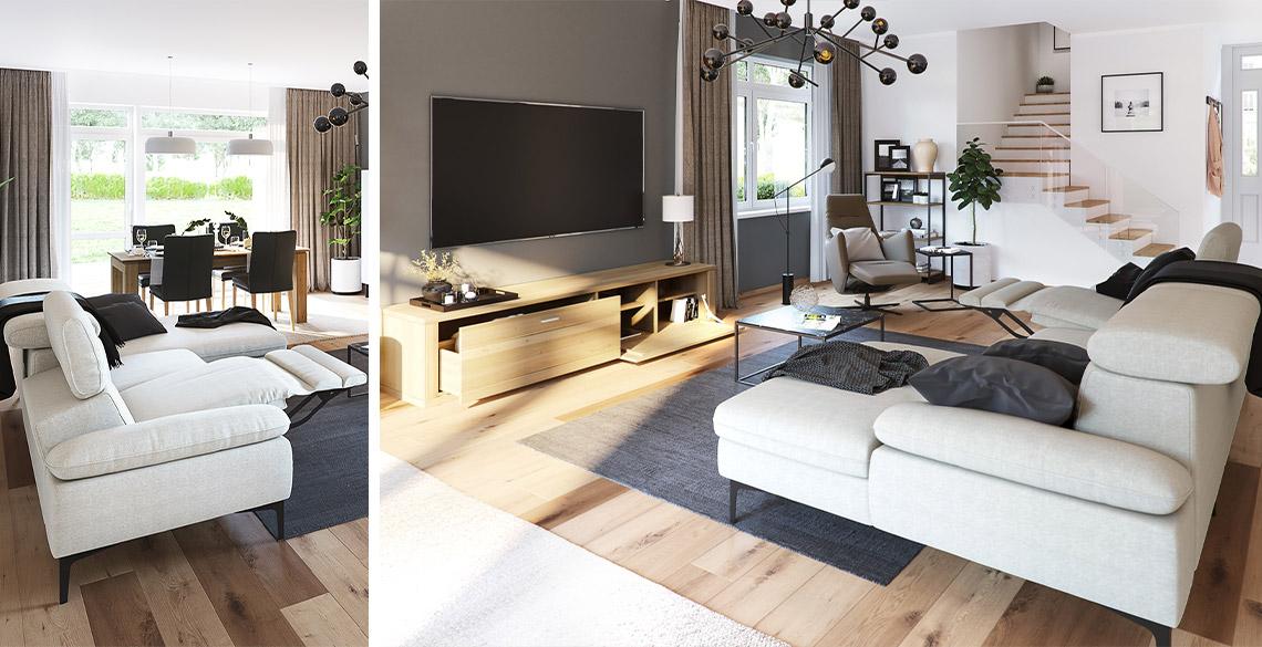 Weißes Funktionssofa mit Relaxfunktionen im Wohnzimmer neben Ledersessel und Couchtisch