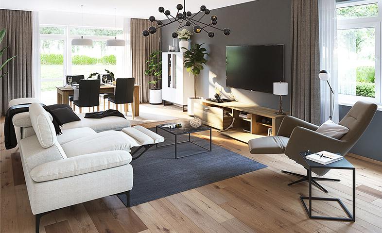 Wohnzimmer mit weißem Ecksofa mit ausgefahrenem Fußteil und Relaxsessel vor Lowboard aus Massivholz