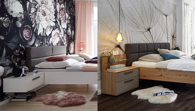Zwei Betten und unterschiedliche Nachttische nebeneinander: Weiß und in Holzoptik