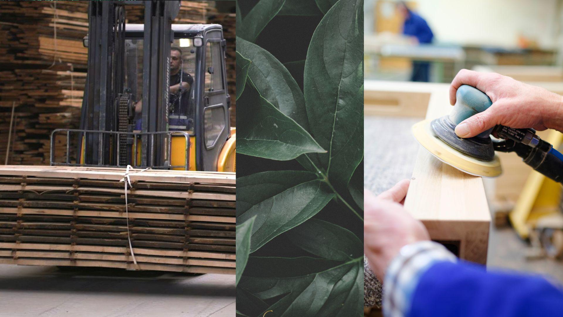 Qualitativ hochwertiges Holz wird bearbeitet