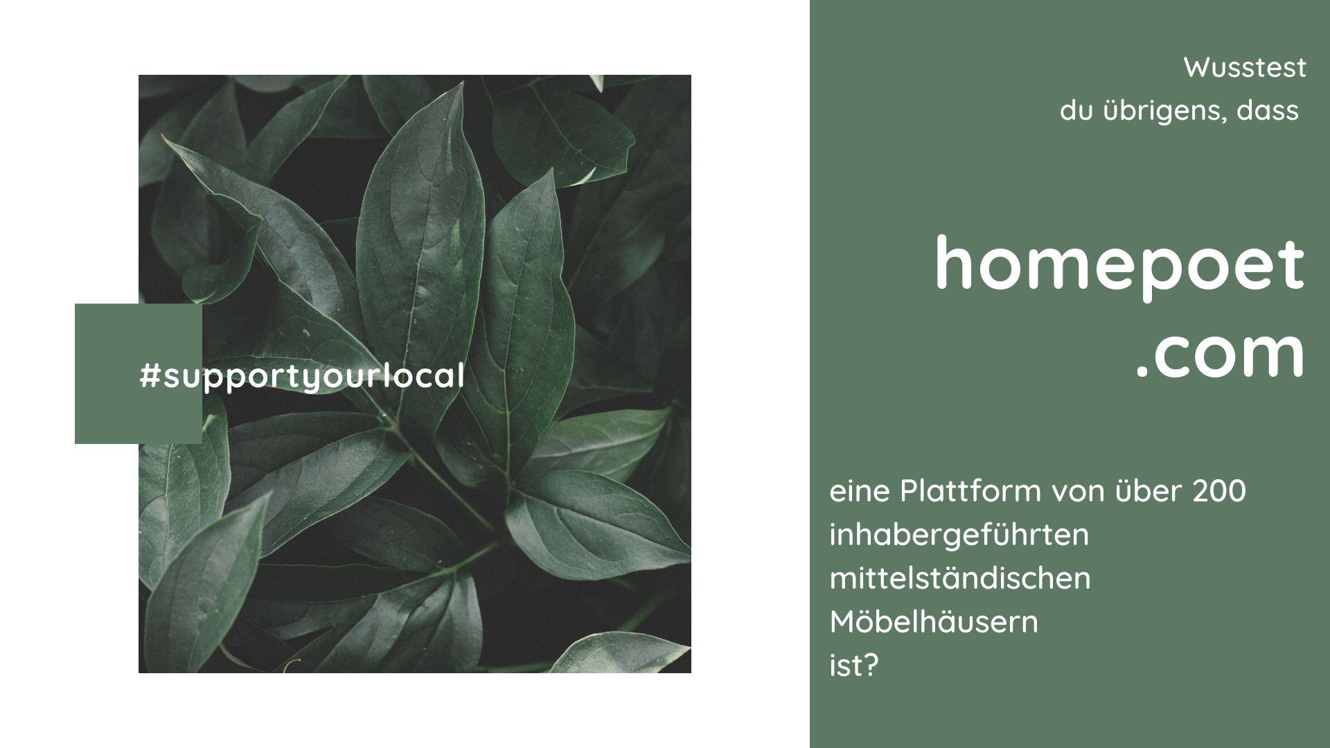 Gruene Pflanze mit Aufschrift support your local