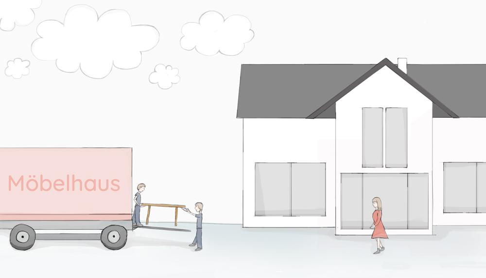 """Gezeichneter LKW mit der Aufschrift """"Möbelhaus"""" aus dem ein Tisch herausgetragen wird"""