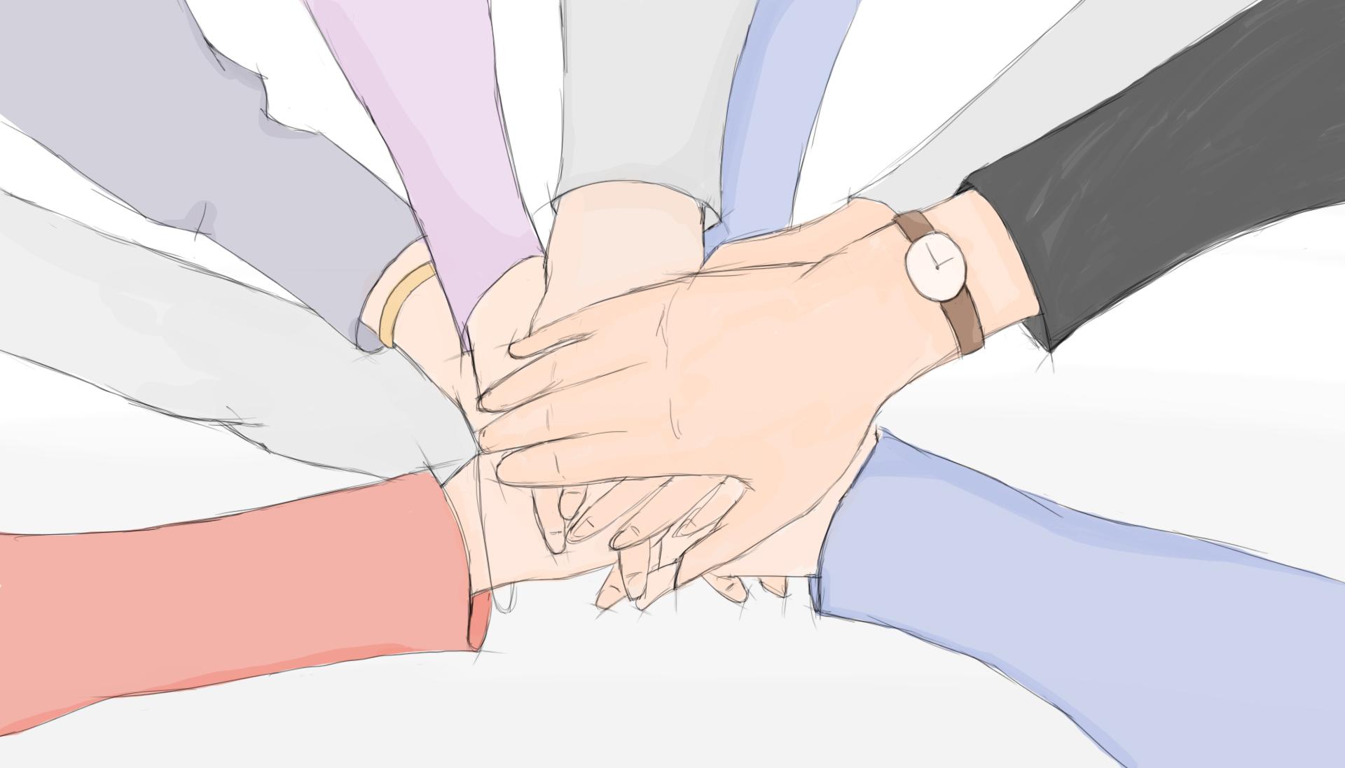 Mehrere Haende aufeinander gelegt als bunte Skizze - Symbol für Teamarbeit