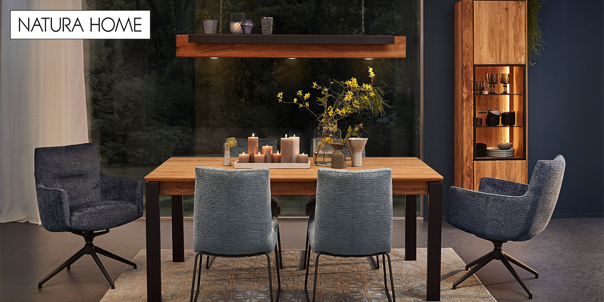 Modernes Esszimmer mit Moebeln von NATURA HOME im Industrial Light Stil