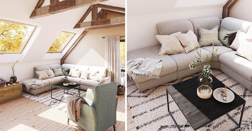 Weißes großes Ecksofa mit vielen Kissen vor grünem Sessel in heller Dachgeschosswohnung
