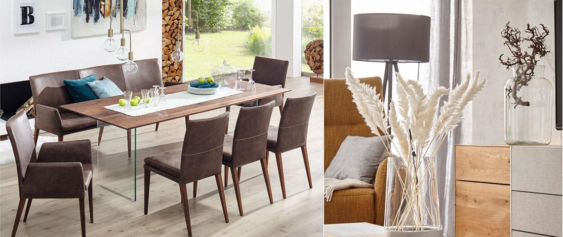 Klassische Esszimmermoebe mit Massivholztisch und braunen Lederstuehlen