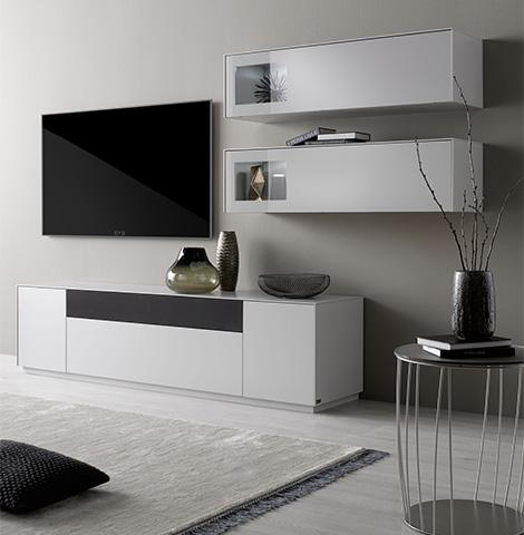 Wohnwand in Weiß und Schwarz mit wenigen Deko-Elementen wie einer Vase mit Ästen