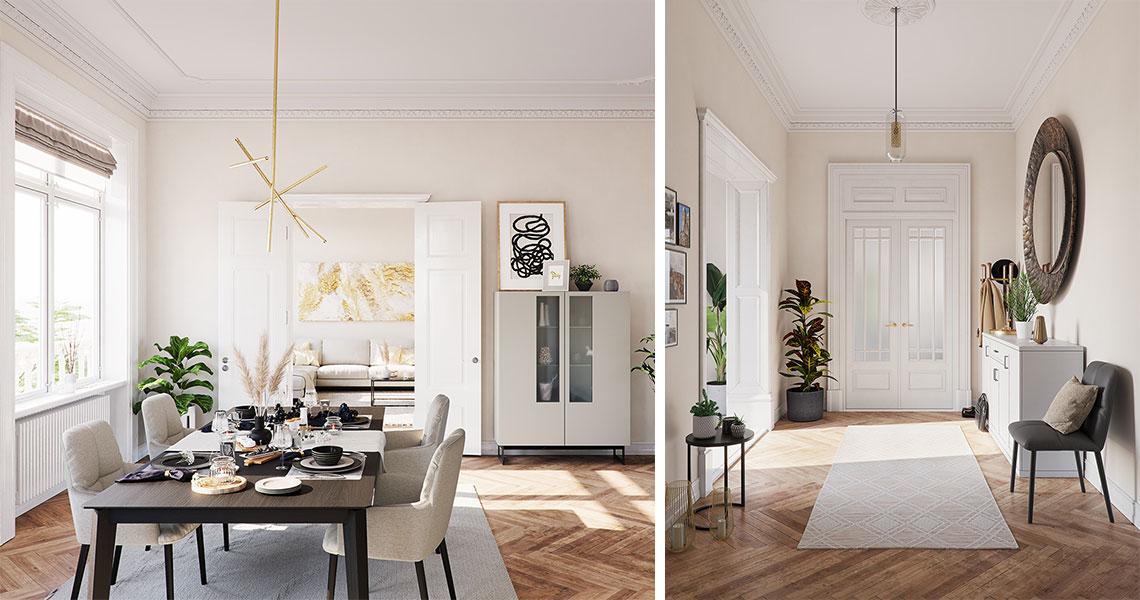 Moderne Altbauwohnung: Esszimmer mit Esstisch und grauen Stühlen sowie Eingangsbereich mit Sideboard