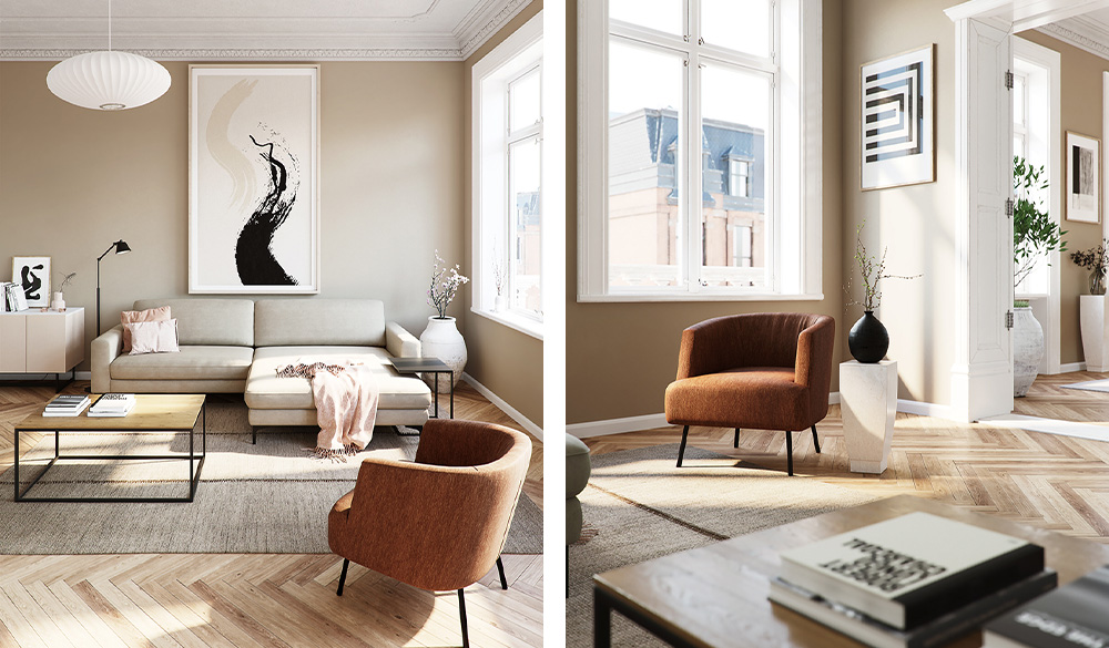 Weißes Ecksofa in hoher Altbauwohnung mit braunem Sessel und zwei Couchtischen