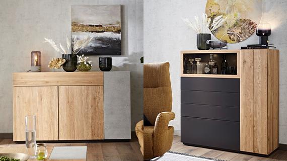 Massivholz-Sideboard mit Beton-Element und ein Highboard mit dunkelgrauem Schiefer-Einsatz