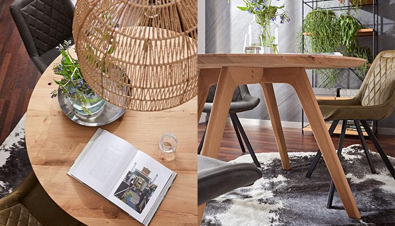 Zwei Bilder des Esstisches Phoenix mit Tischplatte und Gestell aus Massivholz