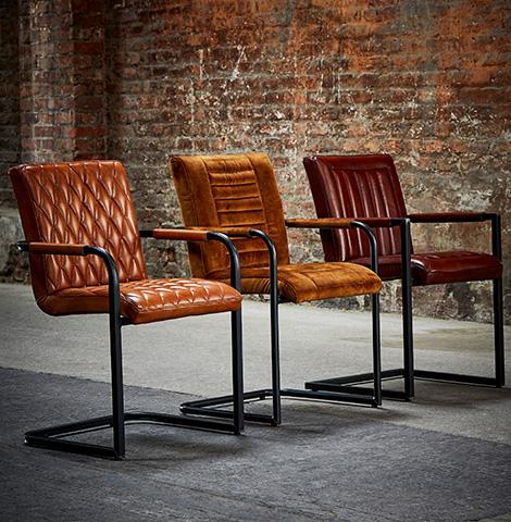 Drei Armlehnstühle aus echtem Leder im Vintage-Look