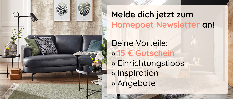 Blaues Ledersofa und Liste aller Vorteile einer Homepoet Newsletter-Anmeldung