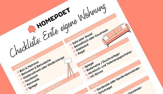 Ausschnitt der Homepoet Checkliste für die erste eigene Wohnung