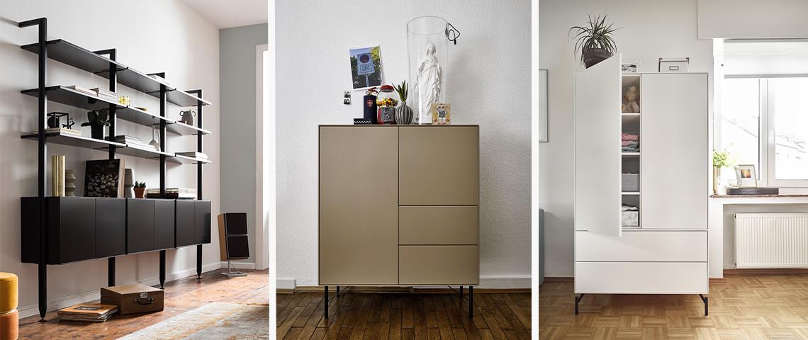 Drei Bilder vom RAUM.FREUNDE Programm Henri: Wandregal, Highboard und Kleiderschrank
