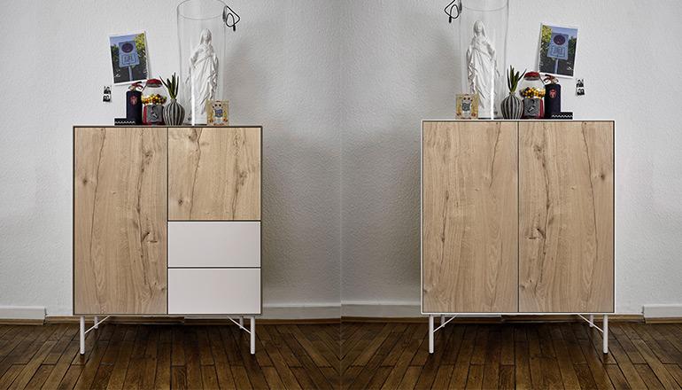 Zwei unterschiedliche Ausführungen desselben Highboards aus Massivholz