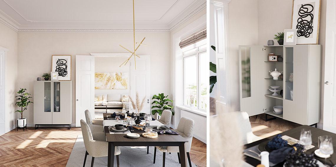 Altbau-Esszimmer mit dunklem Esstisch und hellgrauen Stühlen neben grauem Highboard