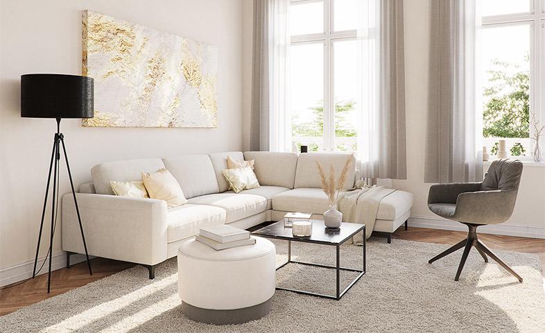 Weißes Ecksofa neben schwarzer Stehlampe, weißem Hocker, schwarzem Couchtisch und einem dunkelgrauen Drehstuhl