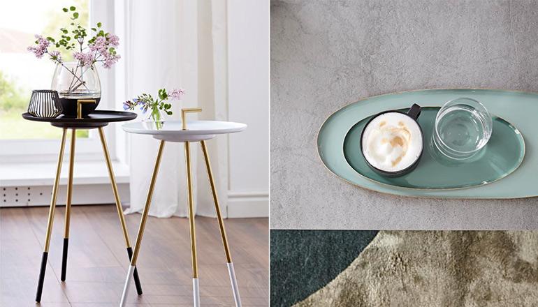 Filigrane Beistelltische mit Blumen und türkisfarbene Teller auf dem Kaffee steht