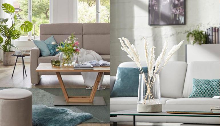 Zwei Bilder mit türkisfarbenen Kissen und Teppichen im Wohnzimmer