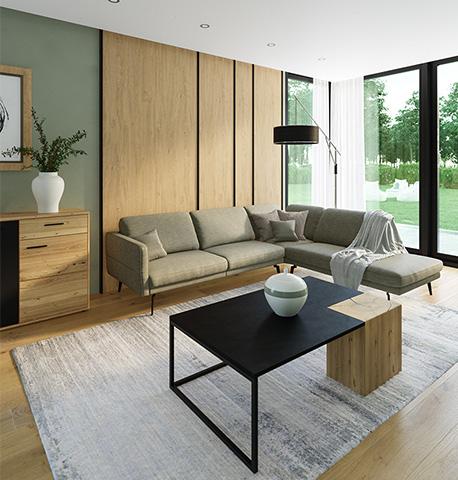 Helles Wohnzimmer mit grünem Ecksofa, Couchtisch mit Asteiche-Einsatz und einem Sideboard aus Massivholz