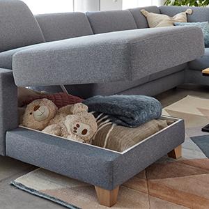 Hellblaues Familiensofa mit Bettkasten