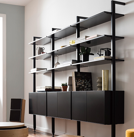 Modernes, schwarzes Bücherregal dekoriert mit Büchern, Vasen und Pflanzen