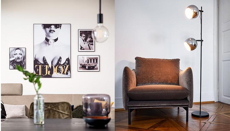 Stehleuchte mit zwei Lampenschirmen neben einem braunen Loungesessel und Bildern