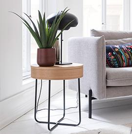 Runder Beistelltisch aus Holz dekoriert mit einer Lampe, Vase und einer Pflanze