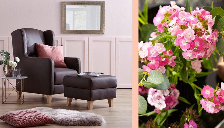 Dunkelbrauner Ledersessel mit dem passenden Hocker mit rosa Deko-Kissen und rosa Blumen